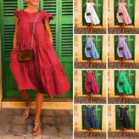 Womens Summer Shirt Dress Oversized Tunic Dress Loose Casual Sundress Maxi Tops