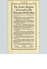 1923 PAPER AD Newspaper Toronto Daily Star Radio Phillips Wienes Typographer