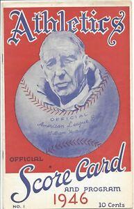 1946 baseball program Philadelphia A's St. Louis Browns Connie Mack GOOD