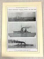 1914 WW1 Aufdruck Deutsche Marineblau Kriegsschiff Dreadnought Prinz Regent