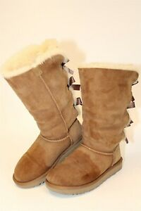 UGG Womens Size 5 36 Bailey Bow Tall Suede Shearling Pull On Flat Boots 1016434