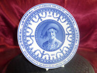 Wedgwood blue/white PLATE Celebrating the life of The Queen Mother 1900-2002