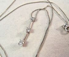 14K White Gold 3-stone .24CT Diamond Vintage Pendant with 17'' Chain Necklace