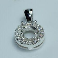 6.00 mm Round semi-mount pendant setting CZ silver 925 #167
