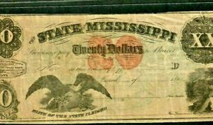 """$20 """"STATE OF MISSISSIPPI"""" 1800'S (BEAUTY) $20 """"STATE OF MISSISSIPPI"""" CRISPY!!!!"""