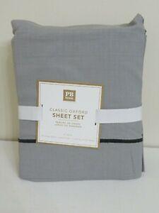 POTTERY BARN TEEN CLASSIC OXFORD XL TWIN SHEET SET GRAY