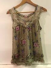 Charlotte Russe Juniors Sheer Brown Floral Tank Top Blouse Size S Small