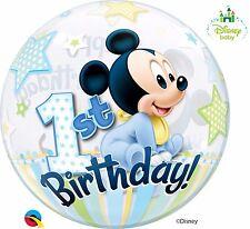 Ballon Bubbles Qualatex 56cm de Diamètre Mickey 1 ER Anniversaire Disney Baby