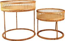 Kalib S/2 Rattan and Bamboo Cane Side Tables Round Top 53cm M&C