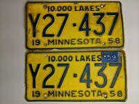 Vintage 1958 1959 Minnesota License Plate PAIR Plates # Y27-437 with Tag