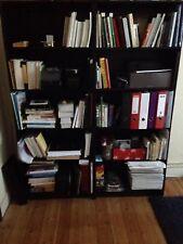 Bibliothèque Noire à Étagères en 2 Parties
