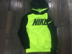 Nike Youth Medium Hoodie Pullover Neon  Yellow and Black Dri Fit EUC