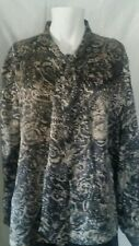 Vintage New Attitude Black/Taupe Polyester Blouse Button-Front Long Sleeve Sz 12