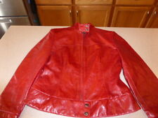ANDREW MARC NEW YORK Red Jacket Coat Leather sz S Small womens