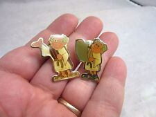 Vtg pair of enameled pins Roman cartoon character in toga