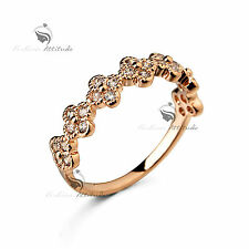 18K Yellow Gold GF women's wedding band dress Simulated Diamond ring