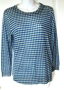 J CREW Womens Tippi Pullover Top Sz M Sweater Blue /White 100% Merino Wool NWT