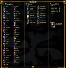 League of Legends Account EUW Unranked  51 Champions 16 Skins King Rammus
