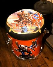 Upcycled & customised iron maiden trooper beer (example) drum bar stool.