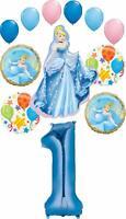 Cinderella Party Supplies Princess 1st Birthday Balloon Bouquet Decorations