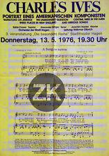 CHARLES IVES Compositeur AMERICAN ORIGINAL Musique Avant-Garde Affiche 1976