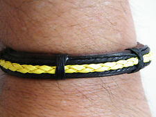 "LEATHER Bracelet NEON YELLOW Braided Summer Surfer Cuff Bracelet  6""-10"" NEW!"
