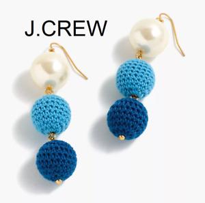 J.CREW crochet bead pearl drop earrings ball dangle cobalt blue fun unique retro