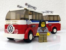 VW Bulli Rot Weiß Campingbus MOC Custom Build volkswagen Hippie Bus ohne Figur