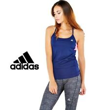 adidas Womens Essentials 3 Stripe Tank Top in Various Colours From Get The Label 4-6 Blue Workout