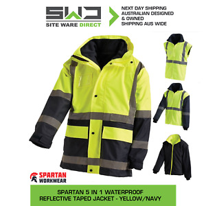 NEW!! 5x Spartan 5 in 1 Waterproof Reflective Taped Jacket - Yellow/Navy- S-5XL