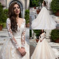 Champagne Ivory Wedding Dresses Bridal Gowns Long Sleeves Custom Made for Bride