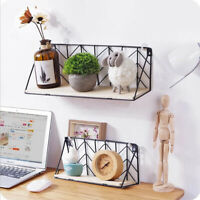 Metal Wood Shelves Wall Mounted Floating Shelf Rack Storage Bookcase Home
