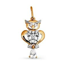 585/14ct Russian Rose Gold Owl Pendant Gift Boxed