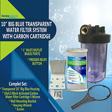 "10"" Big Blue Transparent Whole House System with 4.5x10"" Block Carbon Filter"