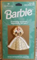 Hallmark PIN Christmas Vintage BARBIE HOLIDAY GOLD of Ornament Holiday