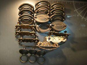 Lot (20) Vintage Antique Brass Drawer Pulls with Hardware. (3) Different Sets.