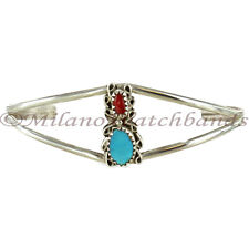 Womens Hand Made Turquoise & Coral Stone Sterling Silver Cuff Bracelet