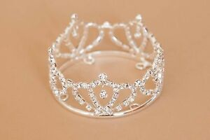 Mini Tira Crown for Newborn - Baby Photo Prop Crystal and Rhinestone Oval 4013