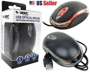 VIBE VA-60-M-BLK 3-Button 800 DPI USB Optical Scroll Mouse @ Black & Clear @ NEW