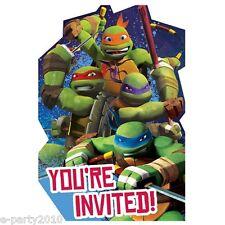 TEENAGE MUTANT NINJA TURTLES INVITATIONS (8) ~ Birthday Party Supplies Invites