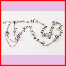 Cute Heart Beads Crystal Rhinestone Long Chain Gold Tone Charm Fashion Necklace