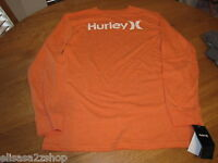 Boy's Youth Hurley L T shirt L/S surf skate orange rust heather logo TEE NEW