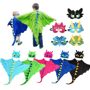 Kids Dragon Wings Cloak Costume Hat Mask Set Dinosaur Dress Up Cape Boys Girls