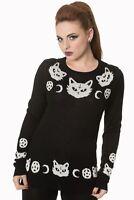 Black White Cat Pentagram Moon Gothic Punk Rockabilly Knit Jumper Banned Apparel