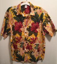 New Mens Hawaiian Pin-Up Hula Girls Hibiscus Palm Tree Floral Aloha Camp Shirt L