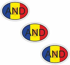 3x Oval Flag Stickers Andorra Small Country Code Laptop Tablet Smartphone Case