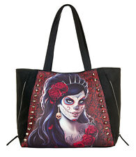 DAY OF THE DEAD Tote Bag PU Leather Mexican/Roses/Skull/Vixen/Purse/Rock/Biker