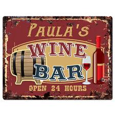 PWWB0095 PAULA'S WINE BAR OPEN 24Hr Rustic Tin Chic Sign Home Decor Gift