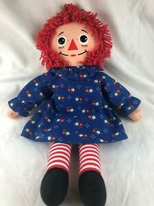 LOVELY RAGGEDY ANN DOLL - 46 CM - BLUE FLORAL DRESS - WHITE KNICKERS