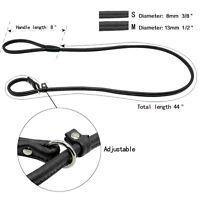 746|Laisse / collier LASSO-corde cuir-2 en 1 noir 1,20m / 8mm ou 13mm pour chien